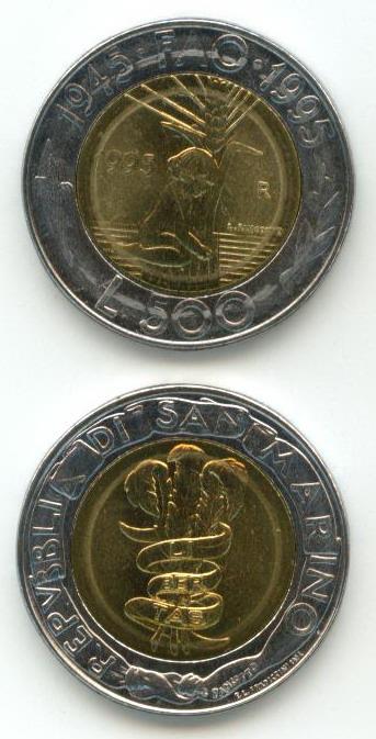 San-Marino-500-Lire-1995-UNC-bimetall-Sondermunze-FAO
